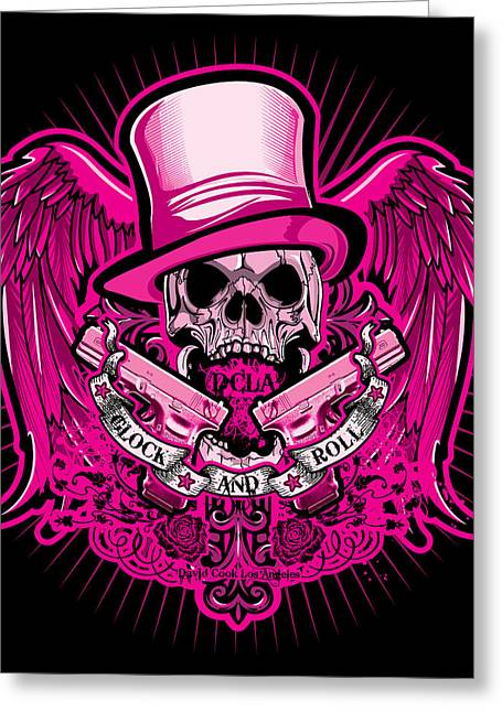 Rockers Greeting Cards - DCLA Glock And Roll Rocker Pink Greeting Card by David Cook Los Angeles