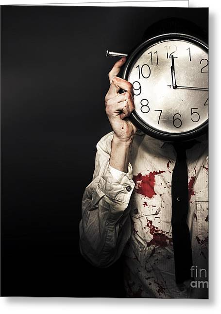 Analog Greeting Cards - Dead Business Person Holding End Of Time Clock Greeting Card by Ryan Jorgensen