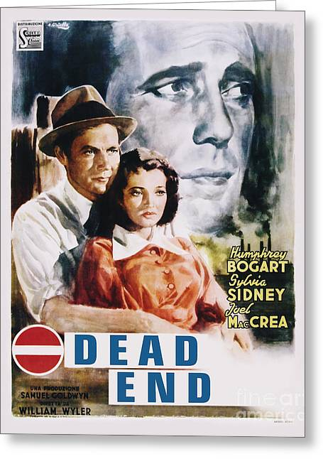 Movie Poster Greeting Cards - Dead End Movie Poster Bogart Greeting Card by MMG Archive Prints