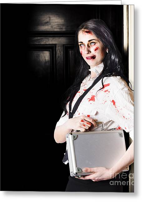 Fiend Greeting Cards - Dead female zombie worker holding briefcase Greeting Card by Ryan Jorgensen