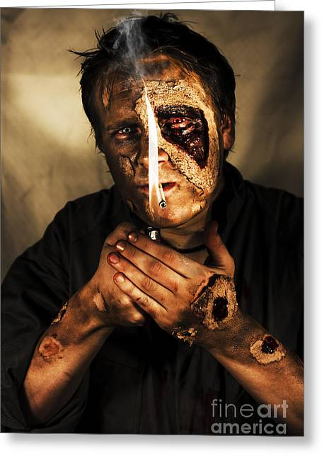 Living Dead Greeting Cards - Dead Man Smoking Greeting Card by Ryan Jorgensen