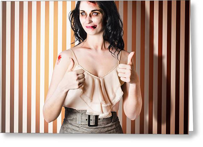 Dead Set Business Woman Ready With Thumbs Up Greeting Card by Jorgo Photography - Wall Art Gallery