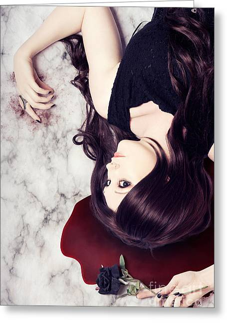 Human Tragedy Greeting Cards - Dead woman holding black flower in blood puddle Greeting Card by Ryan Jorgensen