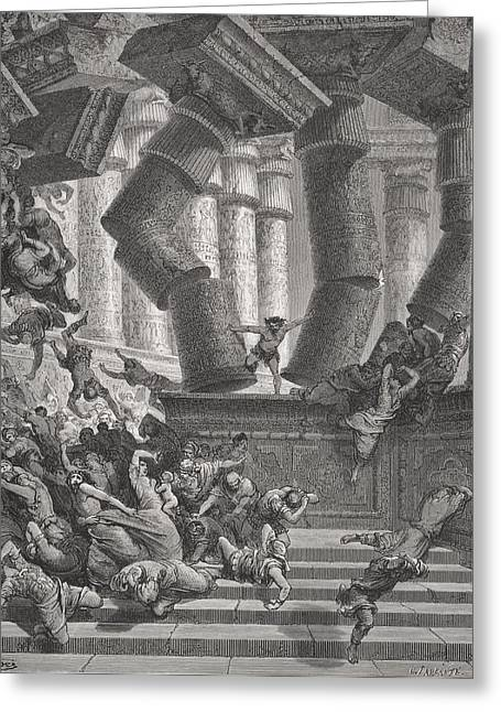 Collapsing Greeting Cards - Death of Samson Greeting Card by Gustave Dore