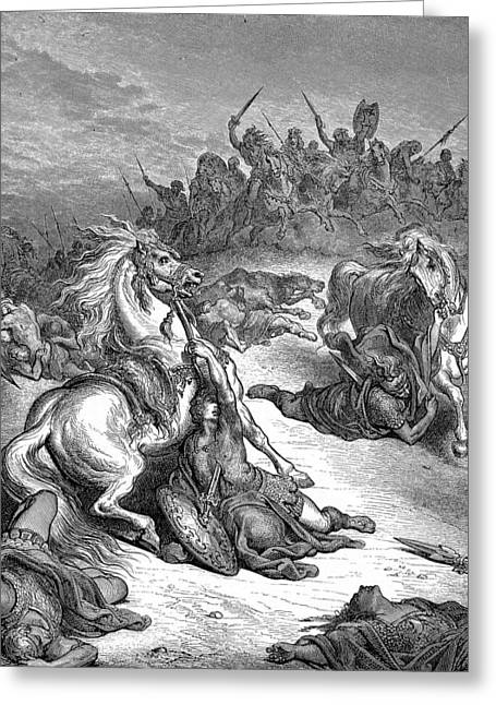 Dore Greeting Cards - Death of Saul  Greeting Card by Gustave Dore