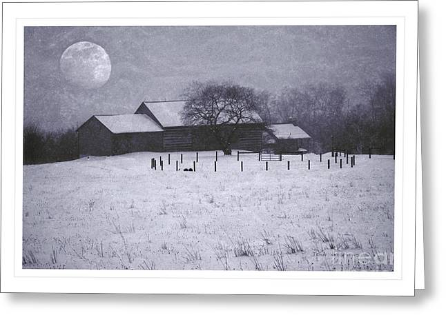 Winter Scenes Rural Scenes Greeting Cards - December Moonrise Farmstead Greeting Card by John Stephens