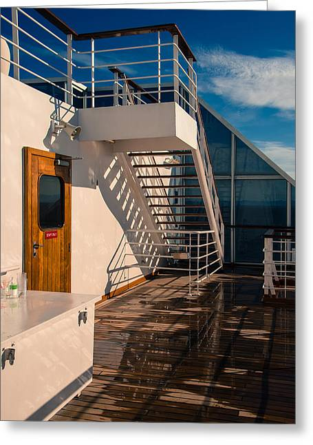Wooden Stairs Greeting Cards - Sports Deck Stairway Greeting Card by Marilyn Wilson