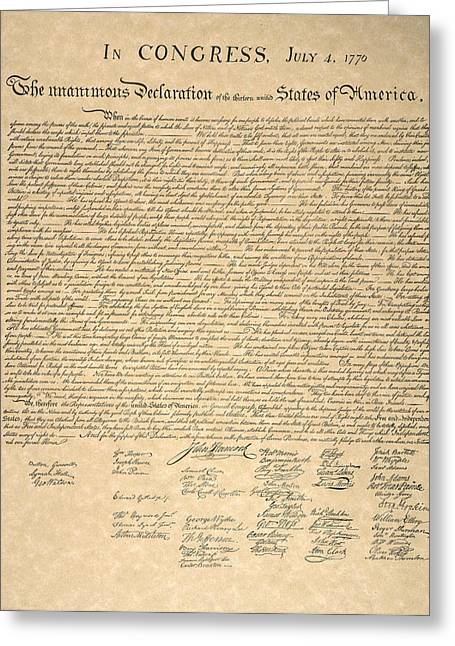 Second Continental Congress Greeting Cards - Declaration Of Independence Greeting Card by Granger