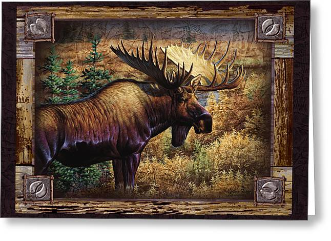Big Game Greeting Cards - Deco Moose Greeting Card by Cynthie Fisher