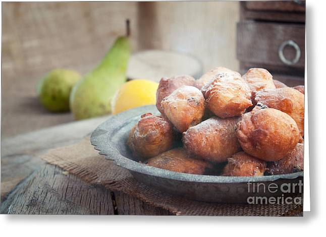 Raisin Greeting Cards - Deep fried fritters donuts Greeting Card by Mythja  Photography