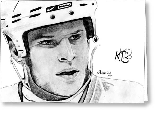 Nhl Hockey Drawings Greeting Cards - Defence on Offence Greeting Card by Kayleigh Semeniuk