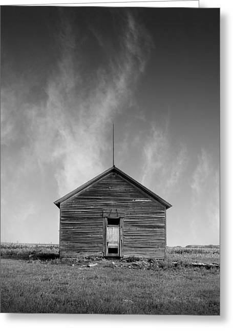 Mid West Landscape Art Greeting Cards - Defunct Country School Building - Rural North Dakota Greeting Card by Donald  Erickson