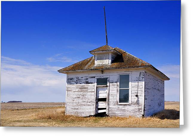 Old School House Greeting Cards - Defunct One Room Country School Building Greeting Card by Donald  Erickson