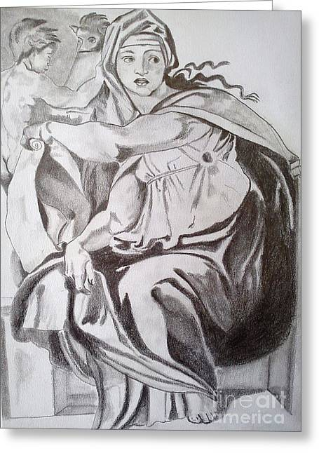 Buonarroti Drawings Greeting Cards - Delphic Sibyl Greeting Card by Franca Sorice