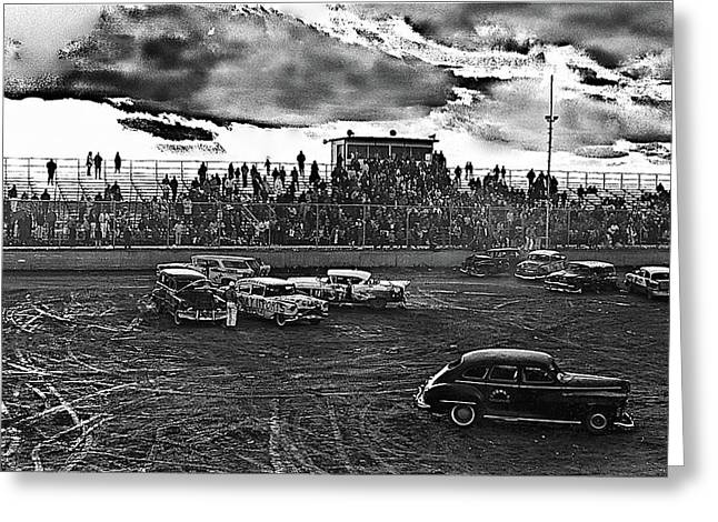 Demolition Derby Greeting Cards - Demolition Derby Rain Storm Clouds Tucson Arizona 1968 Greeting Card by David Lee Guss
