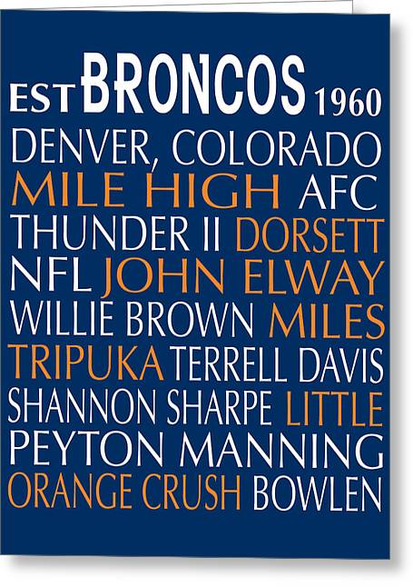 Football Words Greeting Cards - Denver Broncos Greeting Card by Jaime Friedman