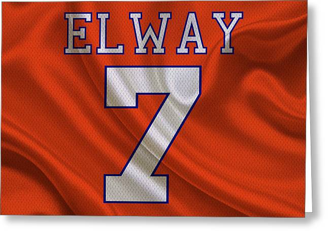 Elway Greeting Cards - Denver Broncos John Elway Greeting Card by Joe Hamilton