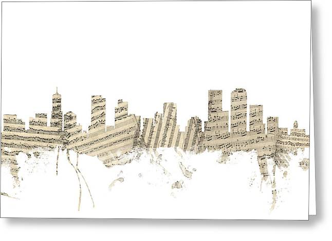 Colorado Posters Greeting Cards - Denver Colorado Skyline Sheet Music Cityscape Greeting Card by Michael Tompsett