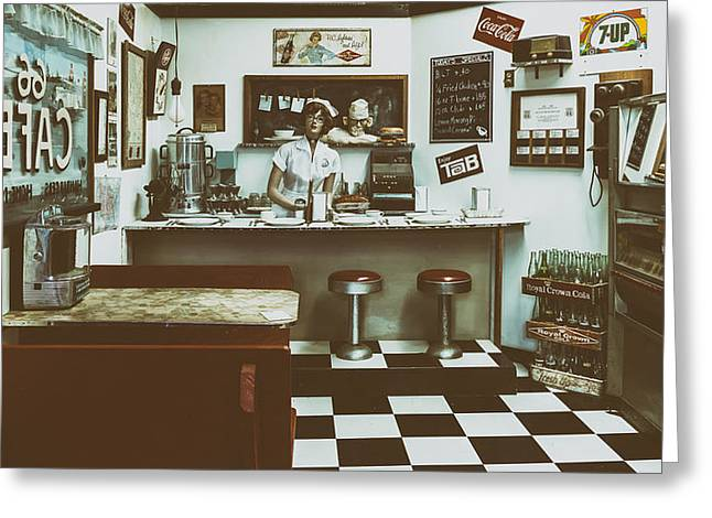 Mclean Greeting Cards - Depiction of an Old Roadside Diner Greeting Card by Mountain Dreams