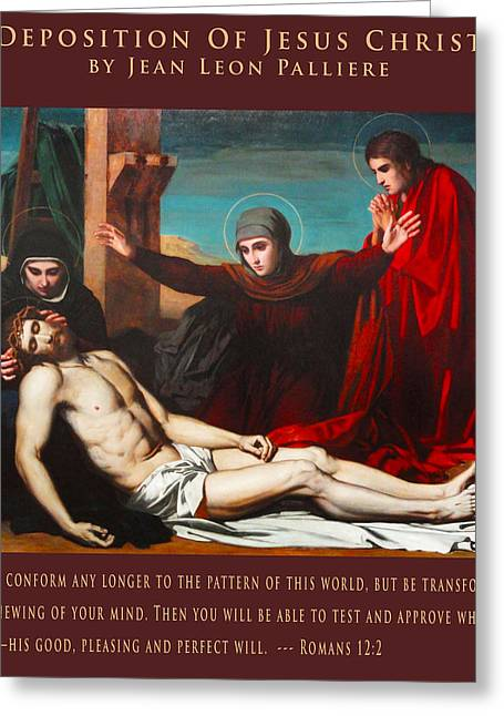 Religious Art Digital Art Greeting Cards - Deposition Of Jesus Christ Greeting Card by Jean Leon Palliere