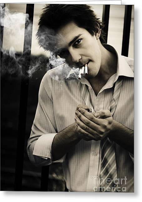 Overwork Greeting Cards - Depressed Business Man Smoking 3 Cigarettes Greeting Card by Ryan Jorgensen