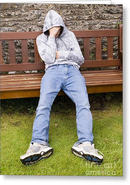 Park Benches Greeting Cards - Depressed Teenage Boy On Park Bench Greeting Card by Mark Williamson