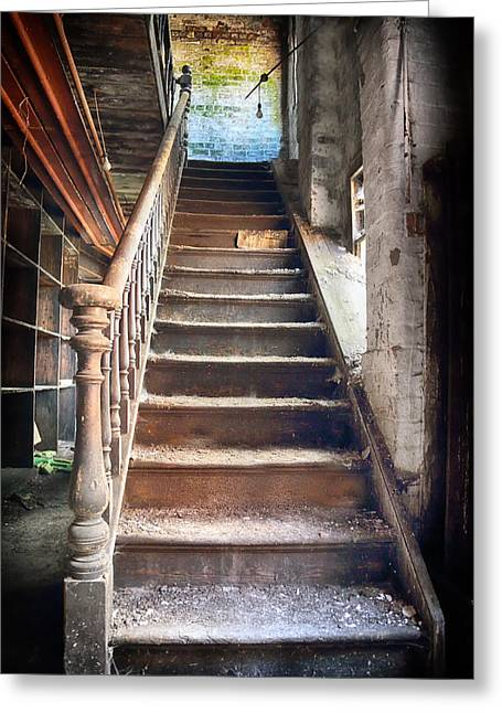 Atmospheric Greeting Cards - Derelict Stairway Greeting Card by Russ Dixon