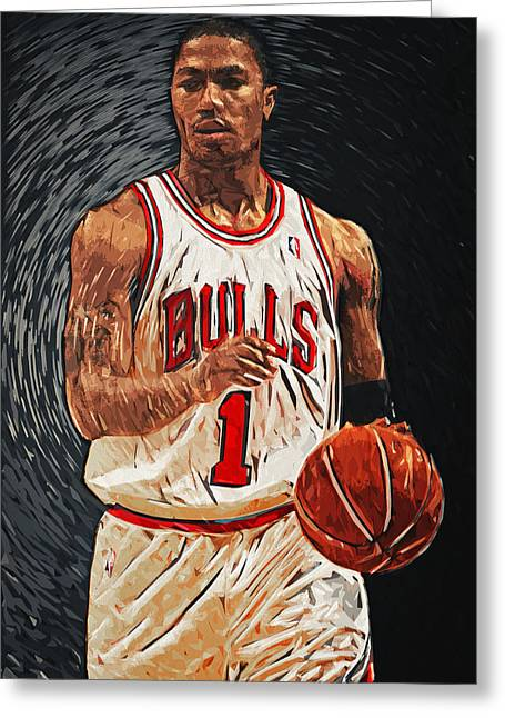 Kobe Bryant Greeting Cards - Derrick Rose Greeting Card by Taylan Soyturk