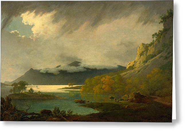 In The Distance Greeting Cards - Derwent Water with Skiddaw in the distance Greeting Card by Joseph Wright of Derby