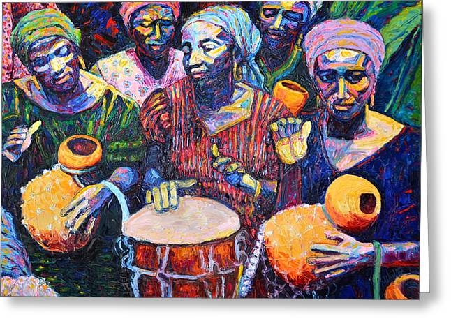 Woman Drumming Greeting Cards - Descarga Greeting Card by Meridy Volz