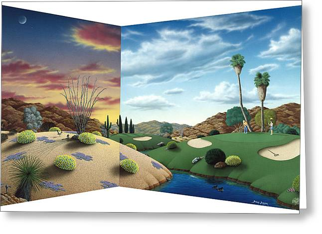 Cactus Greeting Cards - Desert Golf Greeting Card by Snake Jagger