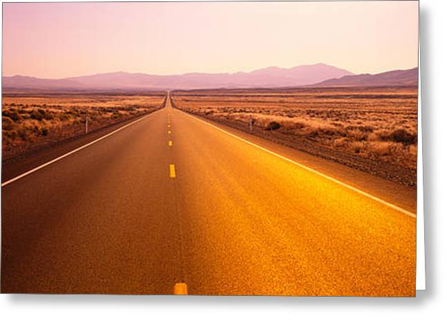 Roadway Greeting Cards - Desert Road, Nevada, Usa Greeting Card by Panoramic Images