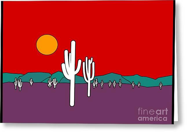 Turquoise Stained Glass Greeting Cards - Desert Sunset Greeting Card by Methune Hively