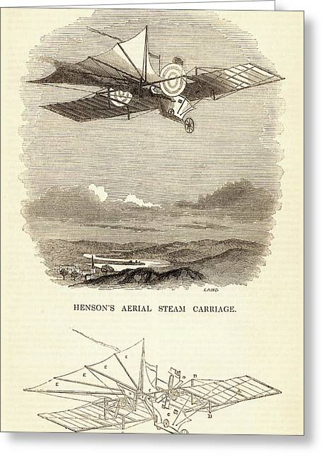Design For The Aerial Steam Carriage Greeting Card by Universal History Archive/uig