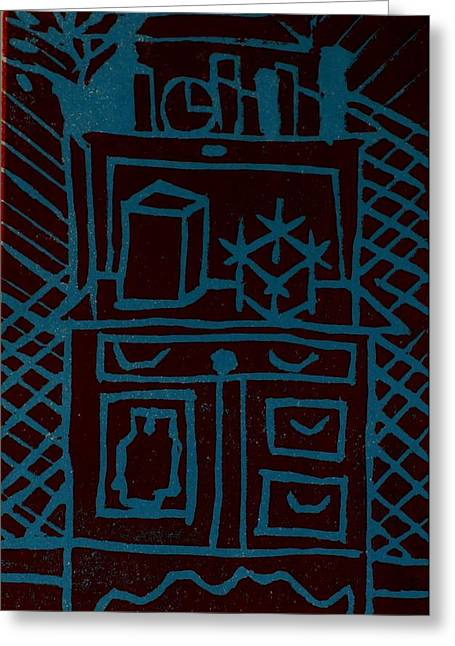 Linocut Paintings Greeting Cards - Desk Greeting Card by Erika Chamberlin