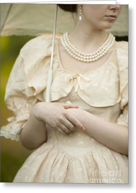 Dappled Light Greeting Cards - Detail Of A Victorian Woman Holding A Parasol Greeting Card by Lee Avison