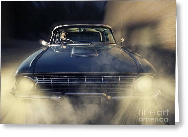 Tommy Hat Greeting Cards - Detective man driving old classic car at pace Greeting Card by Ryan Jorgensen