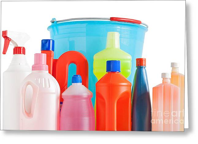 Wash Pail Greeting Cards - Detergent Bottles And Bucket Greeting Card by Antonio Scarpi