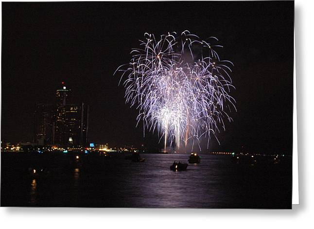 River Greeting Cards - Detroit Fireworks Greeting Card by Gary Marx