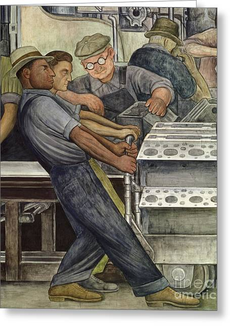 Factory Workers Greeting Cards - Detroit Industry   north wall Greeting Card by Diego Rivera