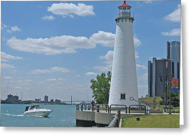 Renaissance Center Greeting Cards - Detroit Lighthouse Greeting Card by Ann Horn