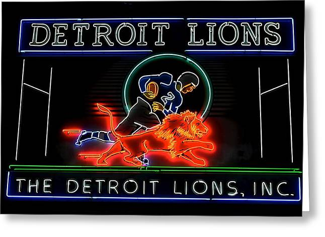 Sanders Greeting Cards - Detroit Lions Football Greeting Card by Frozen in Time Fine Art Photography