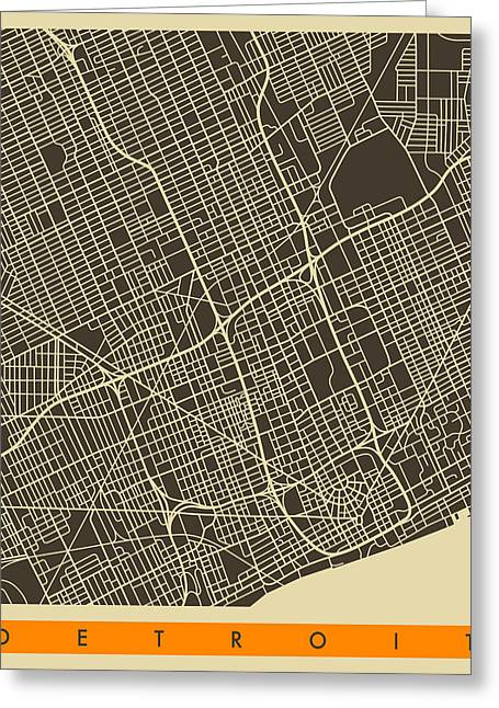 Detroit Digital Art Greeting Cards - Detroit Map Greeting Card by Jazzberry Blue