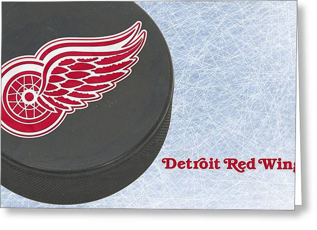 Skates Greeting Cards - Detroit Red Wings Greeting Card by Joe Hamilton