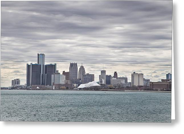 Motown Greeting Cards - Detroit Skyline from Belle Isle Greeting Card by John McGraw
