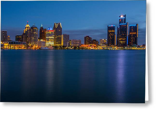 Best Sellers -  - Renaissance Center Greeting Cards - Detroit Skyline Greeting Card by Pravin  Sitaraman