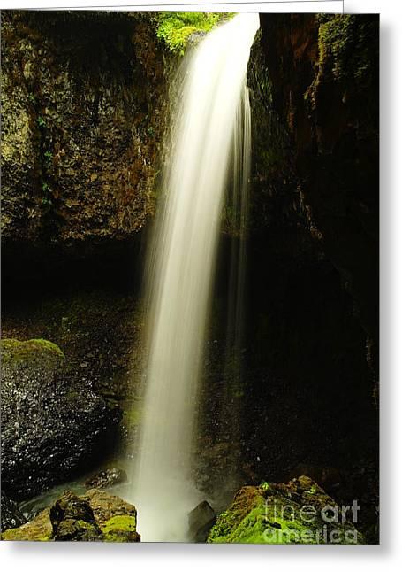 Moss Green Greeting Cards - Devil Creek Falls Greeting Card by Jeff  Swan