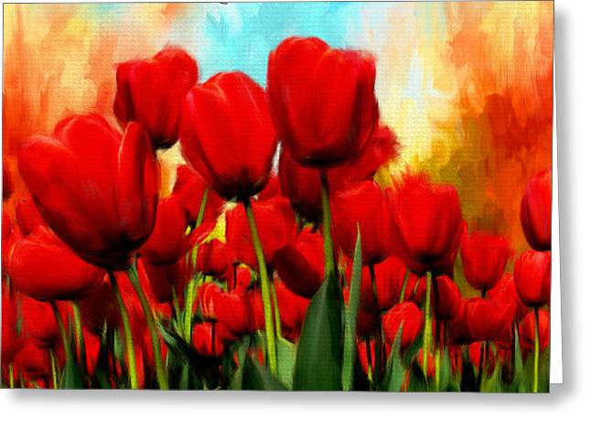 Turquoise And Red Greeting Cards - Devotion To Ones Love- Red Tulips Painting Greeting Card by Lourry Legarde