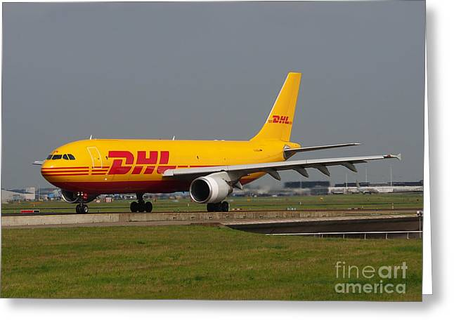Klm Greeting Cards - DHL Airbus A300 Greeting Card by Paul Fearn