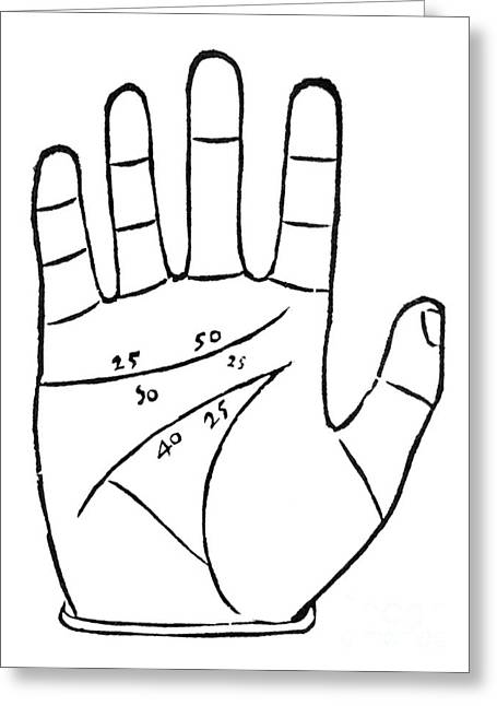 Palmistry Greeting Cards - Diagram Used In Palmistry, 16th Century Greeting Card by Middle Temple Library